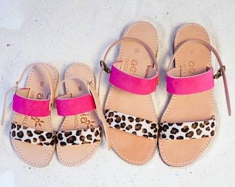Little girl Aelia greek sandals /Mini and me sandals/fuchsia and leopard pony skin / yellow leopard pony skin/ apostasy