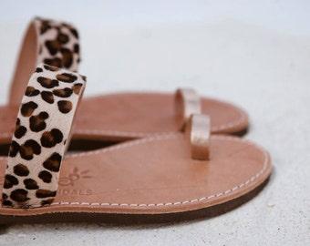 aelia greek sandals /aristocratic/animal print haircalf/gold leather