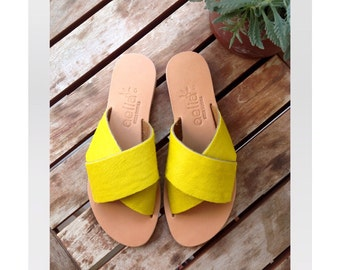 Criss cross sandals in yellow pony skin /aelia Greek sandals / handmade sandals / genuine leather / summer flats / slip on