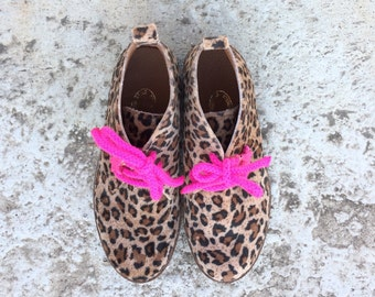 animal print vegan ankle boots/ leopard flat girl shoes/ handmade in Greece / fabric/ fuchsia /school shoes boots