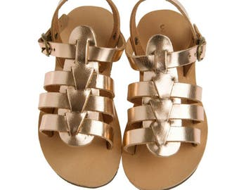 child gladietor pink gold / greek leather pin gold color/ bronze/baby gladietor/genuine leather/handmade straps sandals/baby shoes/kids