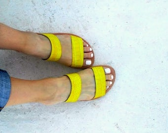 slippers yellow snake print/ two starps / aelia greek sandals/handmade/genuine leather/woman shoes