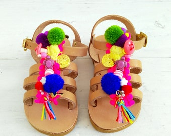 "gladietor mini for toddler  girls/handmade greek sandals /aelia boho /""chrisalenia""/pom pom gladietor/new born"