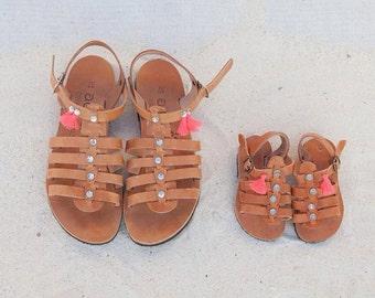 kids sandals aelia greek sandals ittle girl leather greek sandal strass coral tassels gladietor