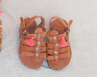 baby sandals/aelia greek sandals/handmade/special for baby girl/strass/leather/handmade