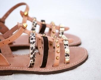 aura gladietor leather sandals