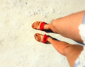 aelia greek sandals/ natural with red tassel / two leather straps /handmade/woman sandals/woman shoes/genuine leather
