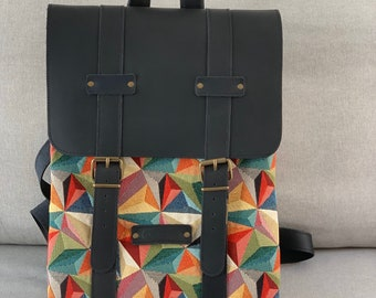 Multicolor Backpack bag handmade with black leather and canvas