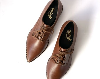 Vegan oxford brown  pointed shoes