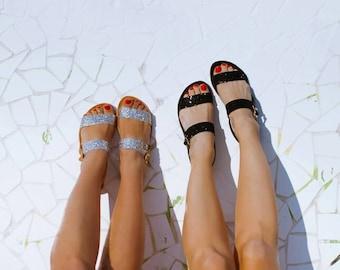 Aelia/Sparkle sandals/aelia greek sandals/apostasy/silver/black/handmade/greek sandals/leather