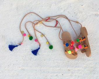 boho greek handmade sandals for girls