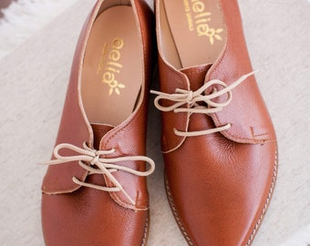 Brown woman oxfords . Handmade in Greece. Ready to ship last pair 40 size