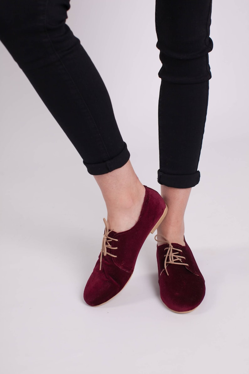 986d8ff35c24d oxfors womans shoes /velvet shoes /oxford ties shoes/wine red velvet  handmade shoes/fast shipping/leather inside/christmas gift