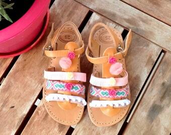 pink gladietor liitle girl sandals /aura/boho romantic sandals /baby shower gift/leather/pom pom/tassel