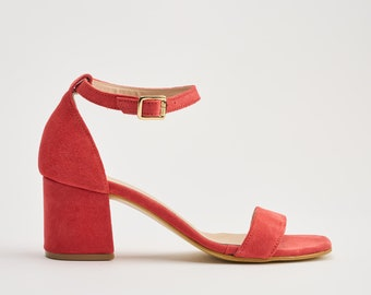 Medium block heel Sandals with ankle strap in Coral Suede
