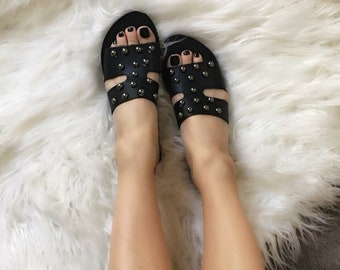 Woman Black Hermes Style Sandals With Dark Silver Studs