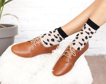 Woman Leather Oxfords Shoes Flat Derby Ties Shoes Vintage Look Brown Leather / Swing shoes