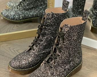 Black Glitter Vegan festival combat boots