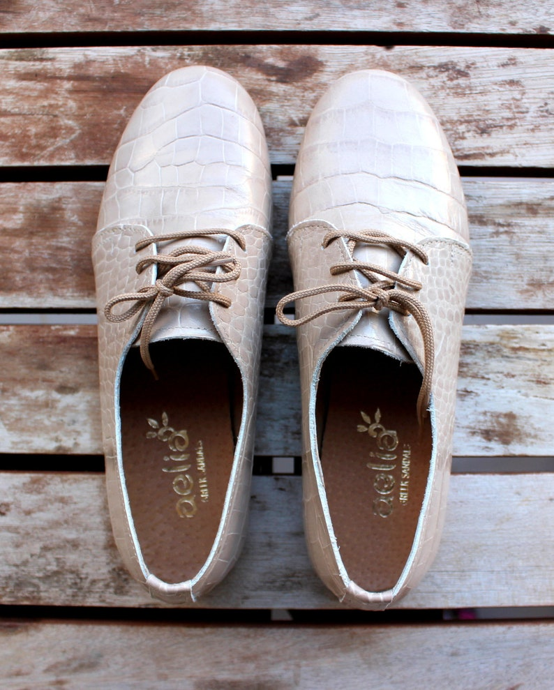Beige Oxford Shoes Snake Print Handmade Leather  Close Shoes image 0