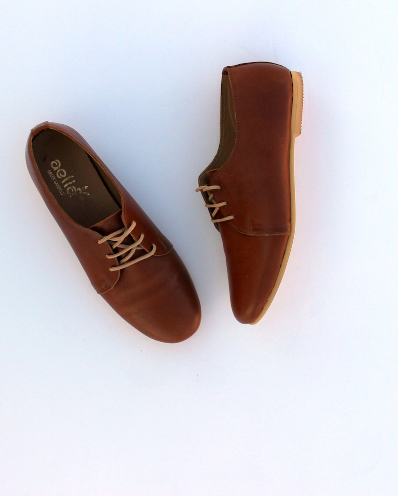 55e281dbf7b35 Woman Leather Oxfords Shoes Flat Derby Ties Shoes Vintage Look Brown  Leather / Swing shoes