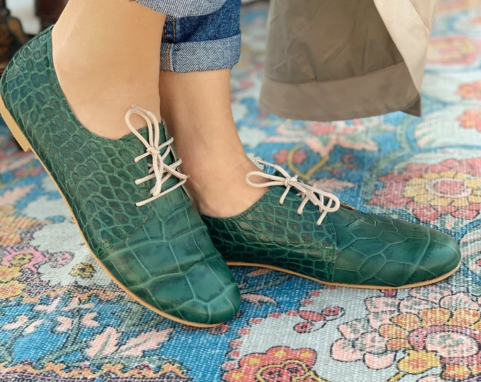 Featured listing image: Formal Shoes For Ladies , Green Animal Print Evening Shoes. Green Leather shoes. Green Flat shoes
