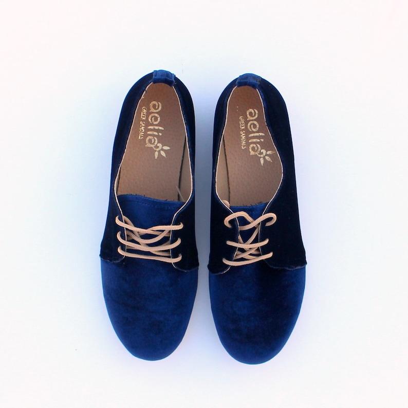 679b31f6a625c oxford women velvet shoes derby ties shoes blue woman shoes autumn winter  shoes handmade vegan shoes