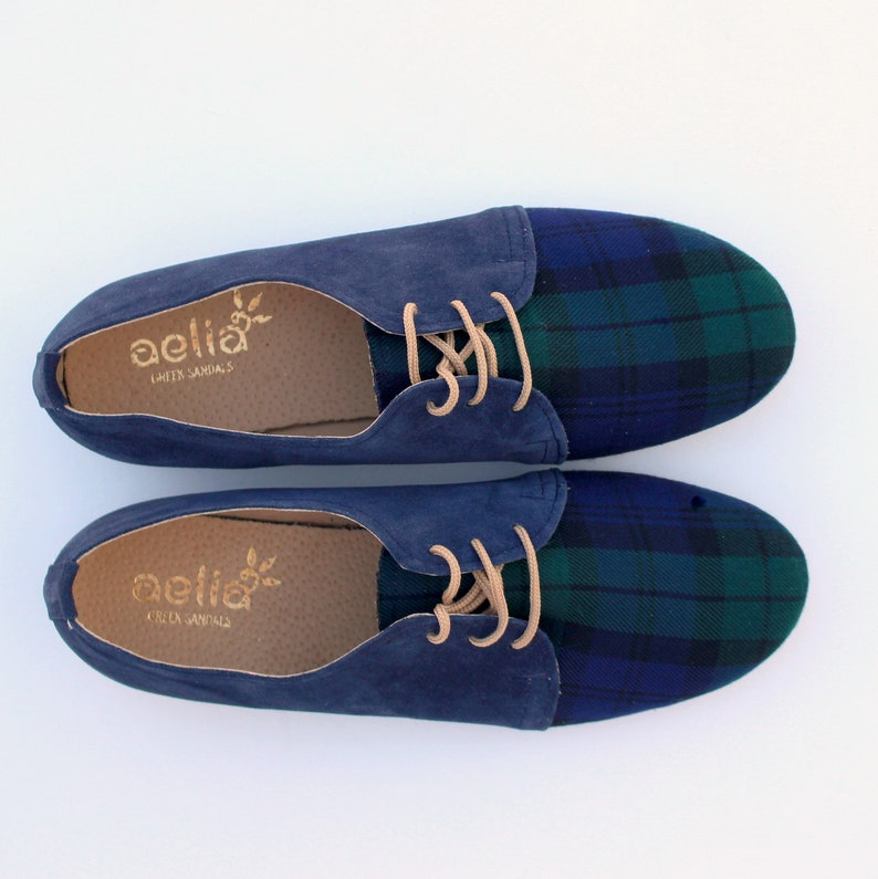 09cdc4b95460c Oxford Shoes Women Handmade With Checked Wool and Suede Leather Casual  Flats Oxford Style Blue Shoes England Style