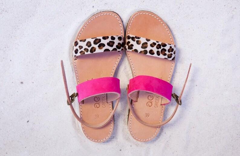 Aelia greek sandals / apostasy collection/ leopard pony skin image 1