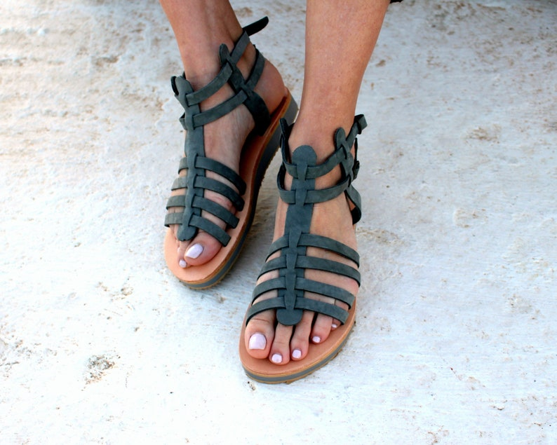 03ea4bf3ff9d Gladiator Greek Sandals Aelia Sandals Grey Genuine