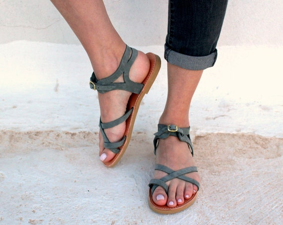 Woman Ancient Greek Style Sandals Handmade Genuine Leather Etsy