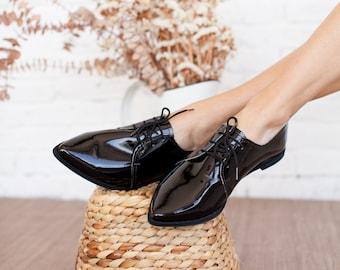 Vegan Pointed Oxford Women Shoes Black Shoes Shiny Vegan Flat Derby Woman Shoes Tie Shoes