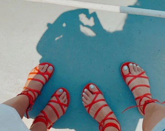 Red Hot Leather Sandals. Made in Greece strappy lace up sandals in bright red