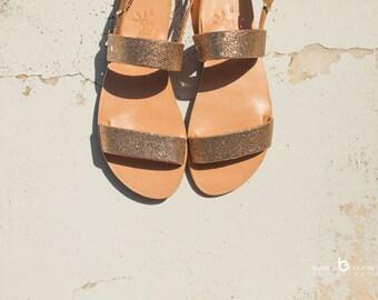 aelia/ greek sandals/two straps/sparkle sandals pink gold/handmade/aposrasy collection/