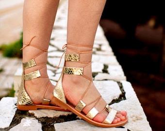 Sales -50% Last sizes /aelia allegory sandals in gold  snake stamp/handmade leather / Greek sandals / gladietor/