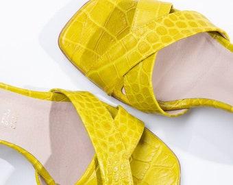 Woman Block medium heel lime sandals in Croco print , handmade in Greece