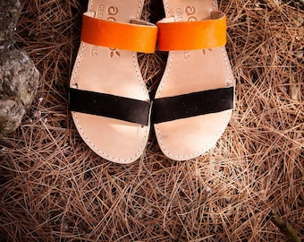 aelia apostasy sandals/handmade two straps greek sandals/orange pony skin and black leather/flats sandals