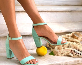 Bridesmaids Shoes ,Medium Heels Sandals in Mint color . Handmade suede leather Sandals