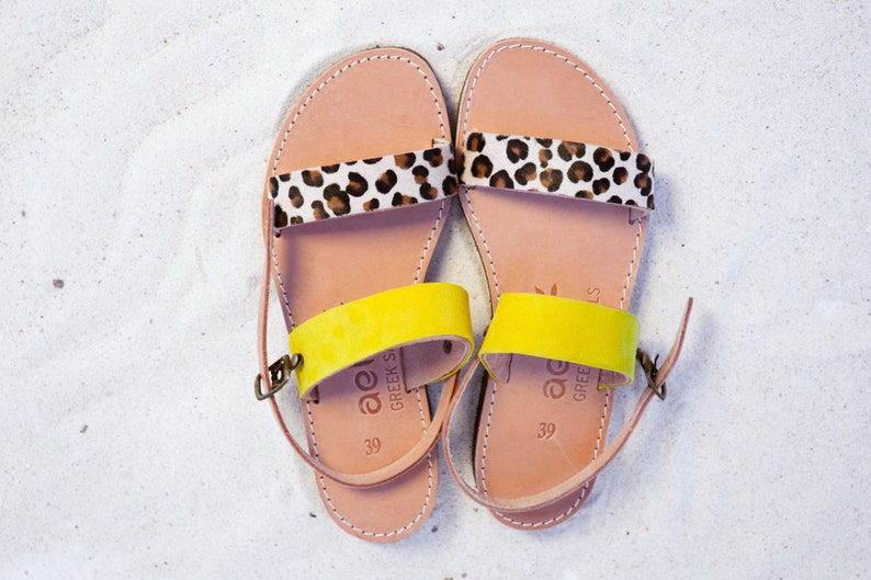 Leather sandals  red yellow .handmade Greek product APOSTASY image 1