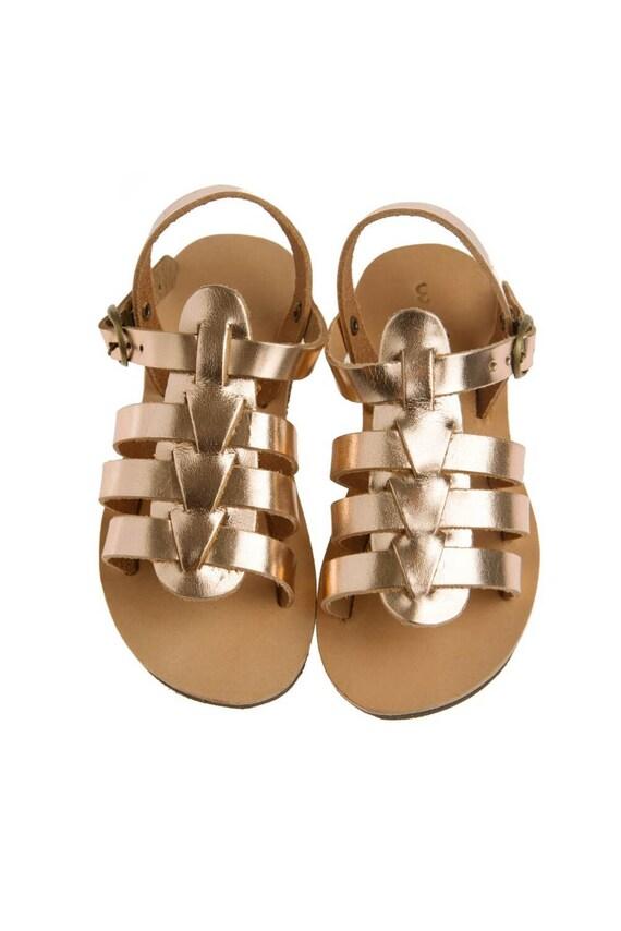 gladietor enfant rose en en en cuir or / grec pin or couleur / bronze/bébé gladietor/véritable sangles en cuir/fait main, chaussures sandales/bébé/enfants | Vente  57eeda