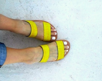slippers yellow snake print/ two starps / aelia greek sandals/handmade/genuine leather/woman shoes