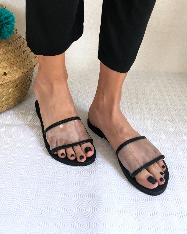 27fc31a28b586 Woman Sandals Transparent Leather Flat Sandals Woman Clear Pvc Slides See  through Slippers Leather Pvc Slides Aelia Woman Greek Sandals