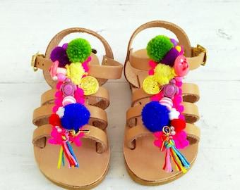 "gladietor mini for toddler  girls/handmade greek sandals /aelia boho /""chrisalenia""/pom pom gladietor/new born"