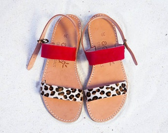 two straps leather sandals red and animal print combo, leather sandals handmade in Greece available sizes 35-43EU