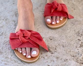 Coral Suede Bow Sandals LIVING CORAL ,Orange Slides  Handmade Leather Sandals Burnt orange