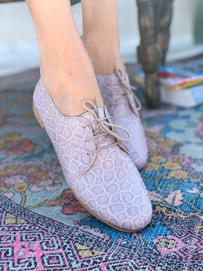 Lilac Leather Women Flat Shoes  Comfortable office shoes for image 0