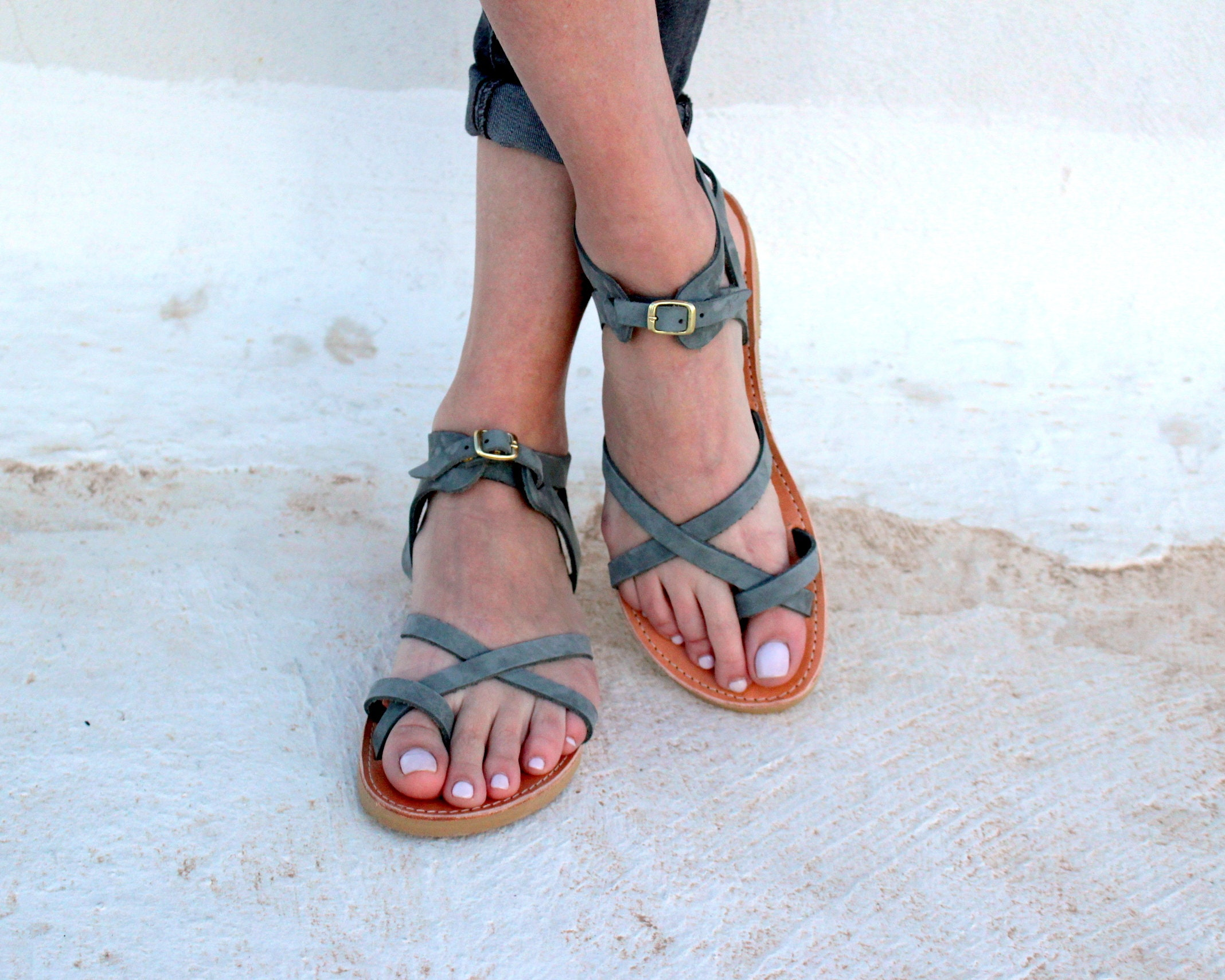 Ancient Greek Style Sandals Grey