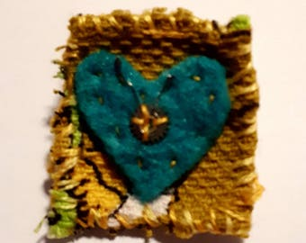 Blue Heart Inch Square Brooch