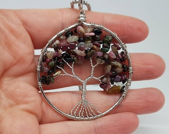 Tourmaline tree of life wired pendant.
