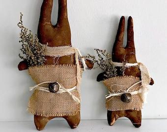 Primitive Chocolate Rabbit Set | Primitive Farmhouse Decor | Cupboard Tuck Shelf Sitter | Chocolate Easter Rabbit