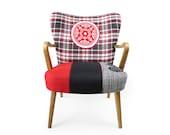 Danish mid-century modern patchwork armchair El Toro